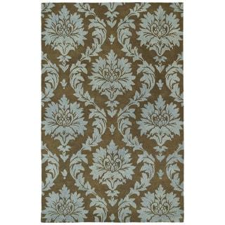 Swanky Blue Damask Wool Rug (5' x 7'6)