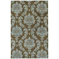 Swanky Blue Damask Wool Rug - 5' x 7'6