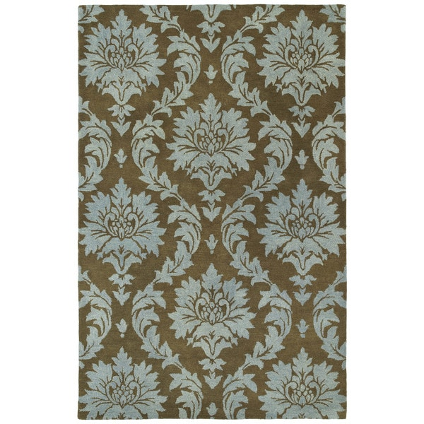 Swanky Blue Damask Wool Rug (5' x 7'6) - 5' x 7'6
