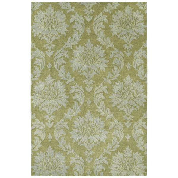 Swanky Avocado Damask Wool Rug (7'6 x 9') - 7'6 x 9'