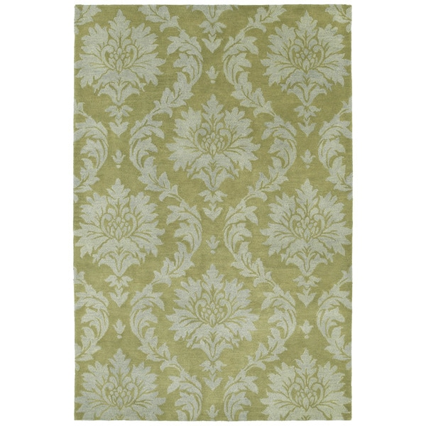 Swanky Avocado Damask Wool Rug (8' x 11') - 8' x 11'