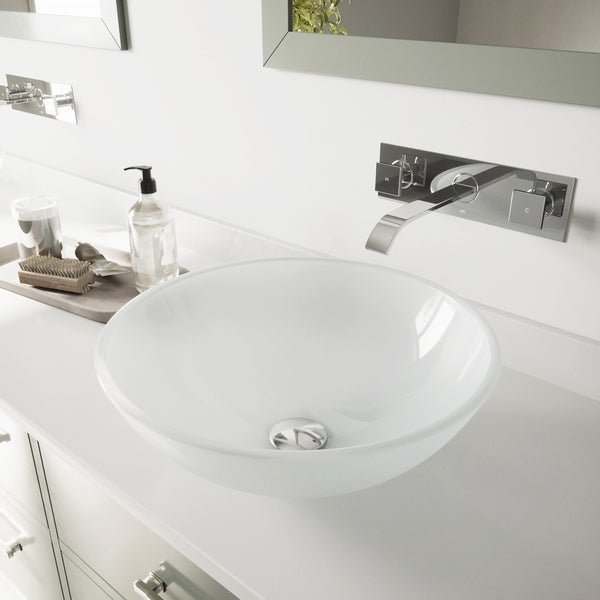 VIGO White Frost Glass Bathroom Sink Set with Titus Wall Mount Faucet