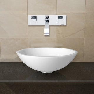 VIGO Flat Edged White Phoenix Stone Glass Vessel Sink with Chrome Wall Mount Faucet