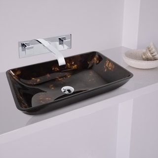 VIGO Rectangular Brown and Gold Fusion Glass Vessel Sink and Wall Mount Faucet Set in Chrome