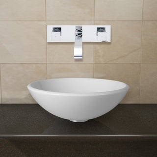 VIGO White Phoenix Stone Glass Vessel Sink with Chrome Wall Mount Faucet