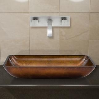VIGO Rectangular Russet Glass Vessel Sink/ Brushed Nickel Wall Mount Faucet Set