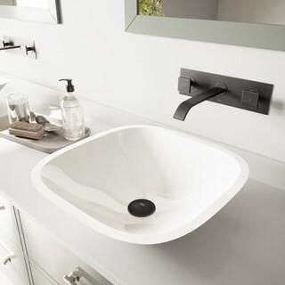 VIGO Marie White Vessel Bathroom Sink Set with Titus Wall Mount Faucet