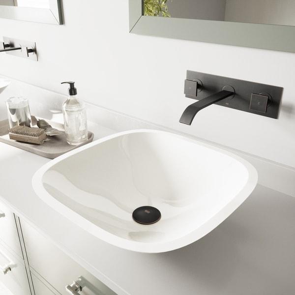 Shop Vigo Marie White Vessel Bathroom Sink Set With Titus Wall Mount