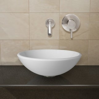 VIGO White Phoenix Stone Glass Vessel Sink with Brushed Nickel Wall Mount Faucet