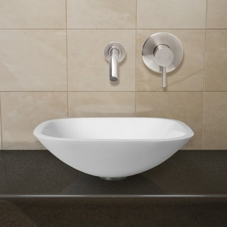 VIGO Marie Phoenix Stone Vessel Bathroom Sink Set With Olus Wall Mount Faucet In Brushed Nickel