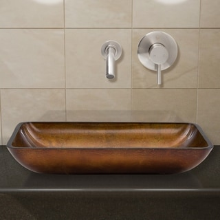 VIGO Rectangular Russet Glass Vessel Sink and Wall Mount Faucet Set in Brushed Nickel