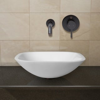 VIGO Square Shaped White Phoenix Stone Glass Vessel Sink with Antique Rubbed Bronze Wall Mount Faucet