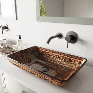 VIGO Rectangular Golden Greek Glass Vessel Sink and Wall Mount Faucet in Antique Rubbed Bronze