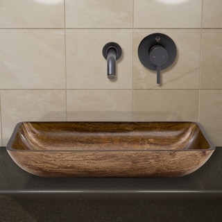 VIGO Rectangular Amber Sunset Glass Vessel Sink and Wall Mount Faucet in Antique Rubbed Bronze