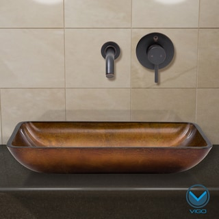 VIGO Rectangular Russet Glass Vessel Sink and Wall Mount Faucet Set in Antique Rubbed Bronze