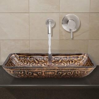 VIGO Rectangular Golden Greek Glass Vessel Sink and Wall Mount Faucet in Brushed Nickel