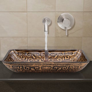 VIGO Rectangular Golden Greek Glass Vessel Sink and Wall Mount Faucet in Brushed Nickel