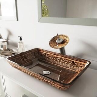 VIGO Rectangular Golden Greek Glass Vessel Sink and Waterfall Faucet Set in Brushed Nickel
