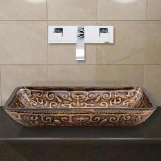 VIGO Rectangular Golden Greek Glass Vessel Sink and Wall Mount Faucet in Chrome