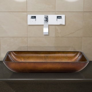 VIGO Rectangular Russet Glass Vessel Sink and Wall Mount Faucet Set in Chrome