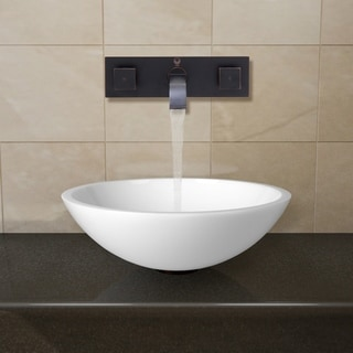 VIGO Flat Edged White Phoenix Stone Glass Vessel Sink/ Antique Rubbed Bronze Wall Mount Faucet