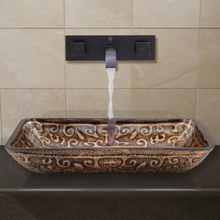 VIGO Rectangular Golden Greek Glass Vessel Sink and Wall Mount Faucet in Antique Rubbed Bronze