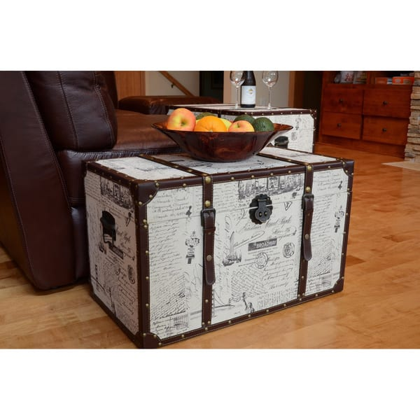 Styled Shopping Ancient City Medium Wood Storage Trunk Wooden Treasure Chest