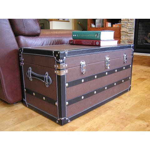 Decorative Sterling Medium Wood Steamer Trunk Wooden Treasure Hope Chest
