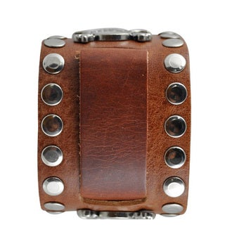 Nemesis Large Skull Stud Leather Brown Band