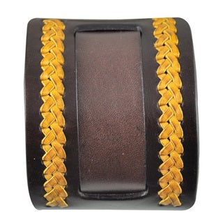 Nemesis Weaved Brown/ Yellow Leather Band