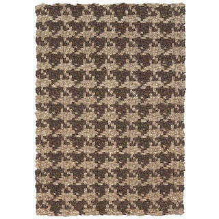 Kosas Home Maricel Houndstooth Brown Jute 5x8 Rug