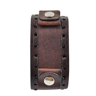 Nemesis Wide Weaving Brown Leather Band