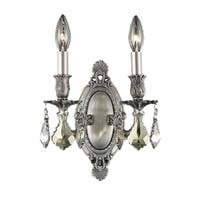 Somette Aubonne Royal Cut Crystal and Pewter 2-light Wall Sconce