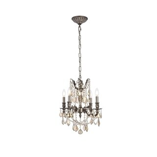 Somette Zurich 4-light Royal Cut Gold Crystal and Pewter Chandelier