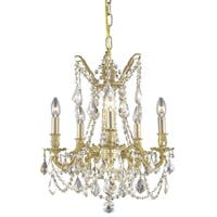 Somette Meilen 5-light Royal Cut Gold Crystal/ French Gold Chandelier