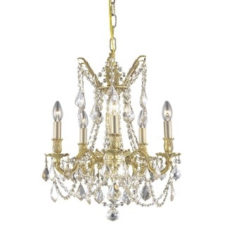 Somette Meilen 5-light Royal Cut Gold Crystal/ French Gold Chandelier