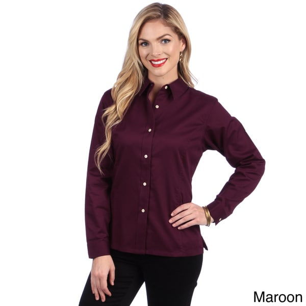 Hartwell women 39 s twill button up shirt free shipping on for Women s button down shirts extra long