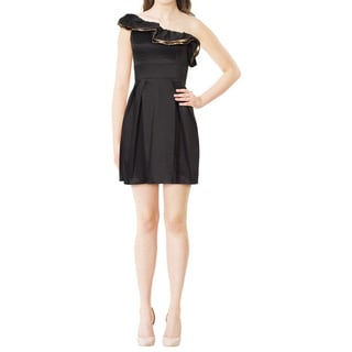 Jill Stuart Statement Making Black Ruffle One Shoulder Evening Party Dress