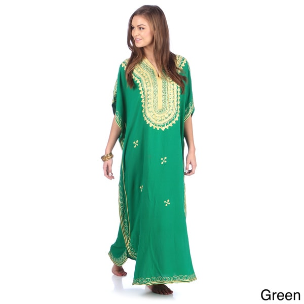 Shop Moroccan Handmade Women s Cotton Long Caftan with Gold  Butterfly-shaped Hand Embroidered Fiber - Free Shipping On Orders Over  45  - Overstock - 8477524 9c223bd5a29