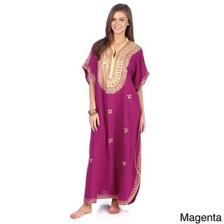 Moroccan Handmade Women's Cotton Long Caftan with Gold Butterfly-shaped Hand Embroidered Fiber