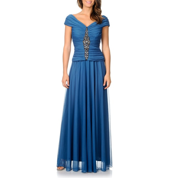 Cachet Women's Slate Embellished Evening Gown