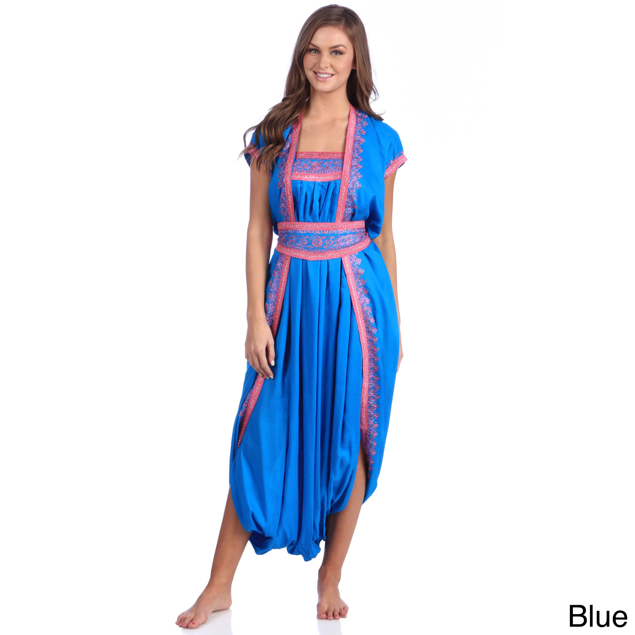 Moroccan Handmade Women's Cotton Long Caftan with Hand Em...