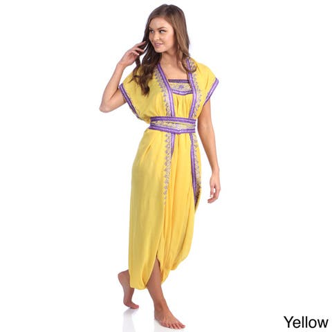 Handmade Moroccan Women's Cotton Long Caftan with Hand Embroidered Tieting Pattern Belt (Morocco)