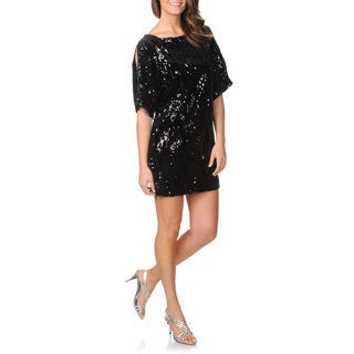 Cachet Women's Black Cold Shoulder Velvet and Sequin Dress