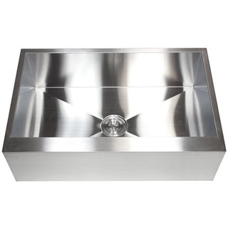 Link to 33-inch 16-gauge Farmhouse Single Bowl Flat Apron Kitchen Sink Similar Items in Sinks