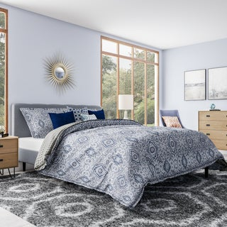 City Scene Milan Blue Cotton 3-piece Duvet Cover Set