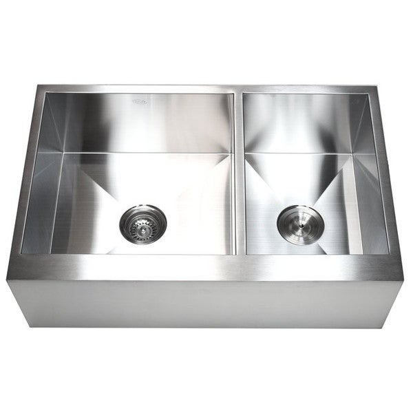 33-inch 16-gauge Farmhouse Double 60/40 Bowl Flat Apron Kitchen Sink ...