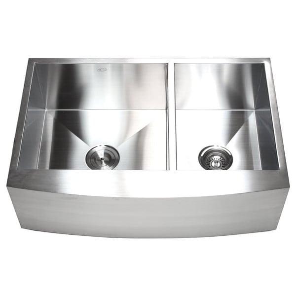 33-inch 16-gauge Farmhouse Double 60/40 Bowl Curve Apron Kitchen Sink