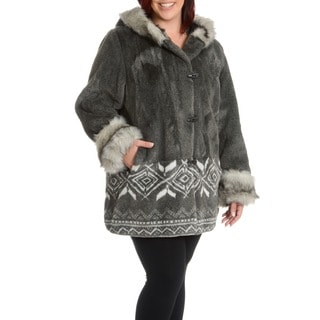 Women's Plus Size Marco Faux Fur Scene Coat