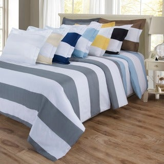 Superior 600 Thread Count Cabana Stripe Cotton Blend Duvet Cover Set
